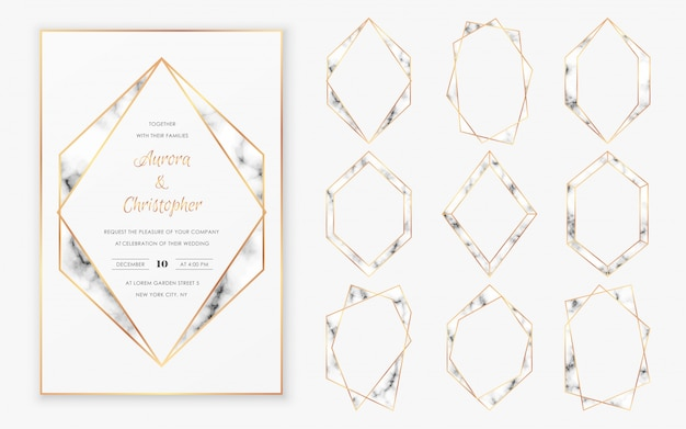 Gold polygonal crystal frames collection with trendy marble texture.
