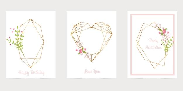 花、幾何学的な、ダイヤモンドの形をしたゴールドの多角形のフレーム。最小限の招待カードテンプレート