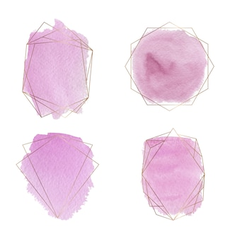 Gold polygonal frames with pink brush stroke watercolor texture.