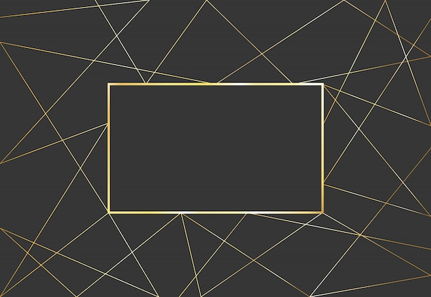 Gold polygonal geometric background. luxury design vector frame