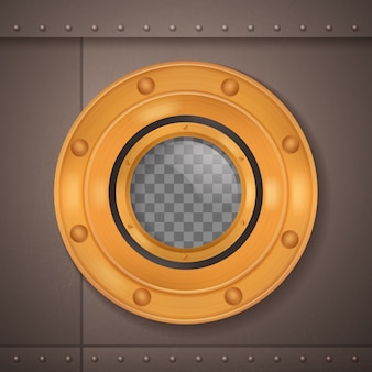 Gold porthole 3d realistic composition porthole on a ship or a submarine