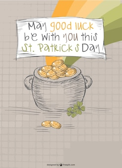 Gold pot at the end of the rainbow card