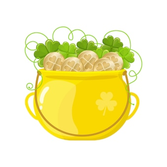 Gold pot with coins and clover