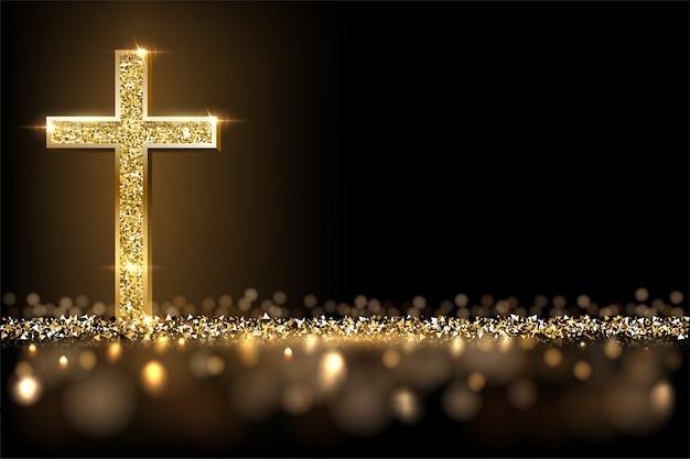 Gold prayer cross on shiny glitter background, christian faith, catholic religion symbol