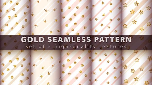 Gold princess glitter seamless pattern
