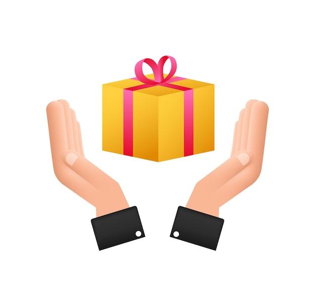 Коробка с золотыми призами в удивительном стиле в руках. настоящий значок подарочной коробки. векторная иллюстрация штока.