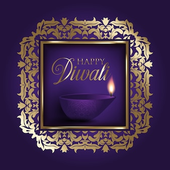 Gold and purple diwali background