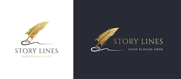 Дизайн логотипа линии подписи золотое перо