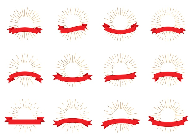 Gold radiant sunburst retro banners with red ribbon. hipster style light rays, empty frame tex box