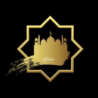 Gold ramadan kareem with mosque geometry background