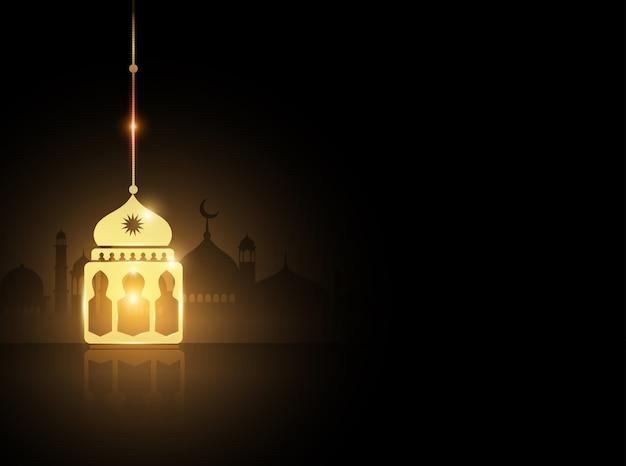 モスクの背景と金ラマダンのランタン