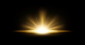 Gold Rays rising on dark background