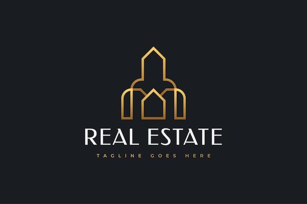 Gold real estate business logo design