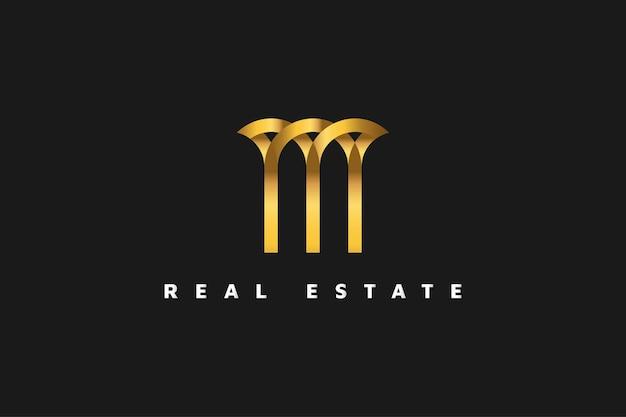 ラインスタイルのゴールドの不動産ロゴ。建設、建築または建物のロゴデザインテンプレート