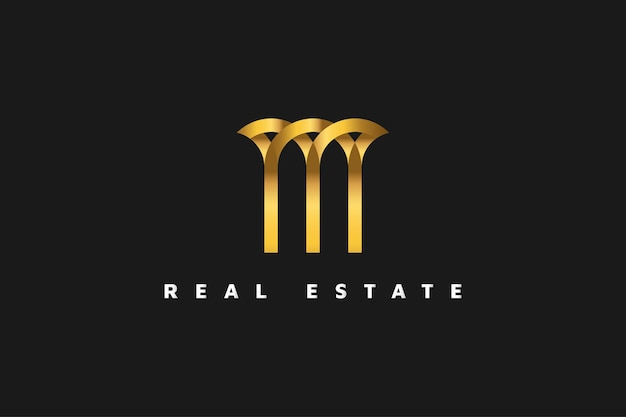 Gold real estate logo in line style. construction, architecture or building logo design template
