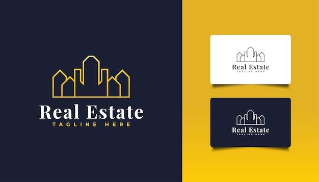 ラインスタイルのゴールドの不動産ロゴ。建設、建築、建物、または家のロゴ