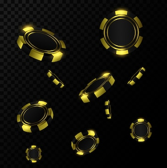 Gold realistic chips in the air. online casino game gambling 3d concept.