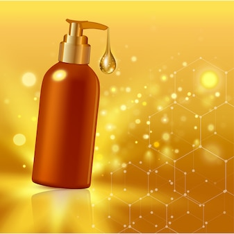 コラーゲンソリューションクリームまたは背景イラストのエッセンスとゴールドの現実的な化粧品のチューブポスター