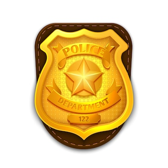 Gold realistic police, detective badge with shield