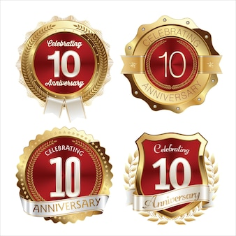 Gold and red anniversary badges years celebration