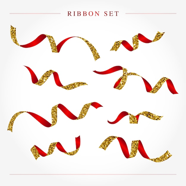 Gold and red ribbon set vector