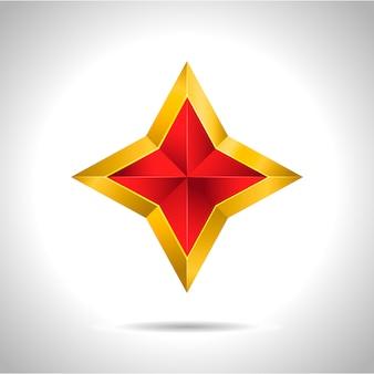 Gold red star illustration 3d christmas symbol