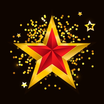 Gold red star