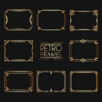 Gold retro frames. collection of golden premium promo seals/stickers.