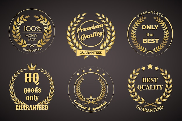 Gold retro guarantee labels with wreaths isolated on black Free Vector