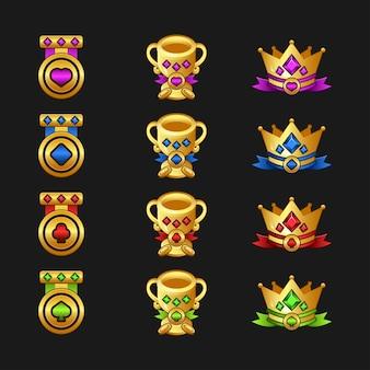 Gold reward achievement asset for creating medieval video games