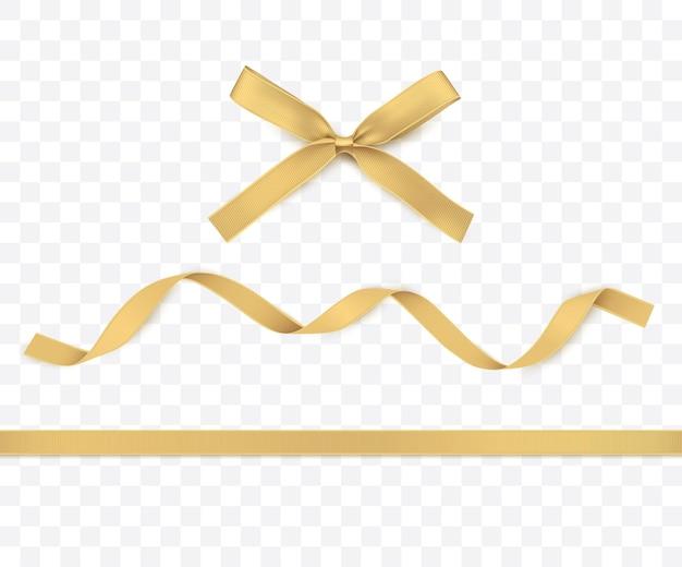 Золотая лента и бант изолированные золотое украшение для подарочных коробок или рождественских иллюстраций