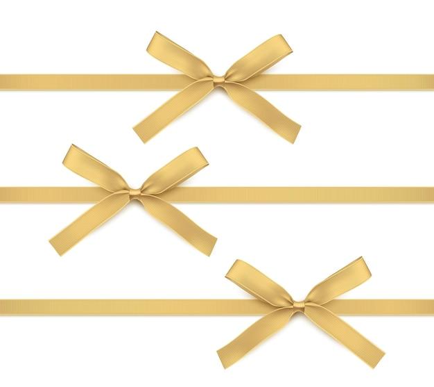 Золотая лента и бант изолированные золотое украшение для подарочных карт и подарочных коробок