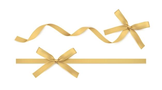 Золотая лента и бант изолированные золотые векторные украшения для подарочных карт для подарочных коробок