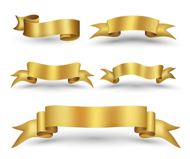 Gold ribbon banner set