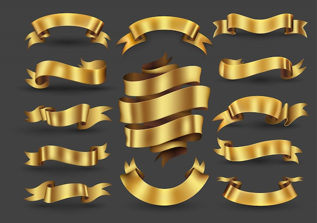 Gold ribbon banners collection