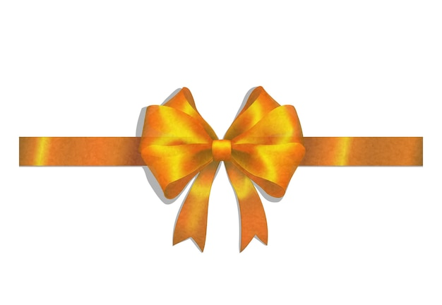 Gold ribbon and big bow isolated on white
