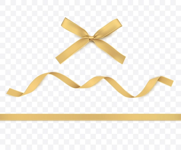 Gold ribbon and bow isolated golden decoration  for gift boxes or christmas illustrations
