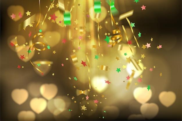 Gold ribbon celebration on gold background