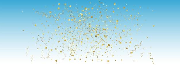 Gold ribbon swirl vector panoramic blue background. carnival star illustration. streamer paper plant. yellow falling design.