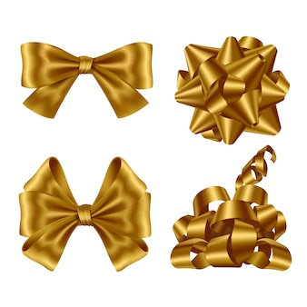 Gold ribbons and bows set