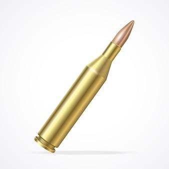 골드 소총 총알 흰색 배경에 고립입니다.