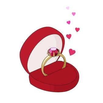 Золотое кольцо с драгоценным камнем в красной подарочной коробке.
