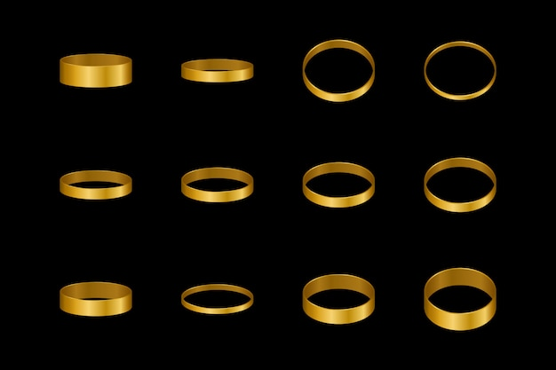 Gold rings for a pair of lovers. design element for engagement or wedding.