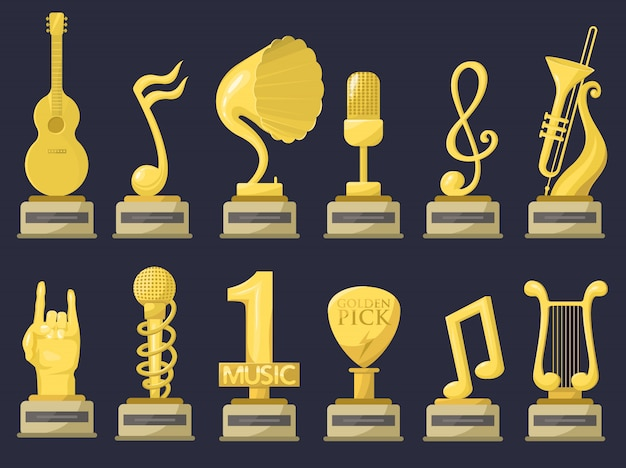 Gold rock star trophy music notes best entertainment win achievement clef and sound shiny golden melody success prize pedestal victory.