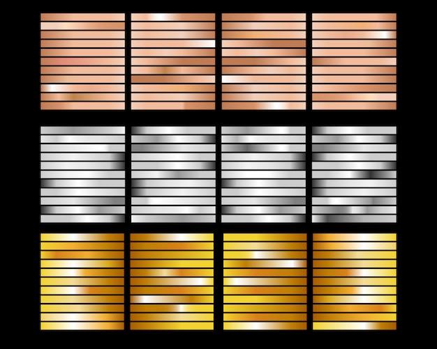 ゴールドローズ、ブロンズ、ゴールドホイルテクスチャグラデーション背景セット