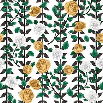 Gold rose seamless pattern with line background