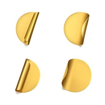 ゴールドの丸いしわくちゃのステッカーとピーリングコーナーセット。しわのある効果のある粘着性の金箔またはプラスチックステッカーラベル。