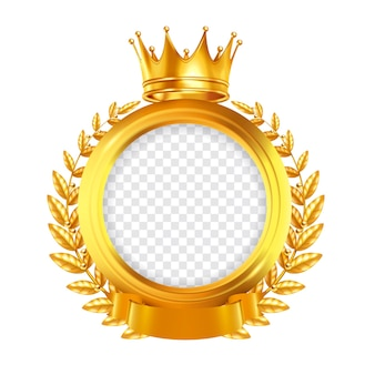 Gold round  frame decorated by laurel wreath tape and crown realistic design concept clipping path