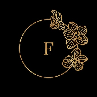 Gold round frame template orchid flower and monogram concept with the letter f in minimal linear style. vector floral logo with copy space for text. emblem for cosmetics, medicines, food, fashion