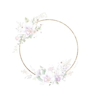 Gold round frame with orchids. watercolor illustration.